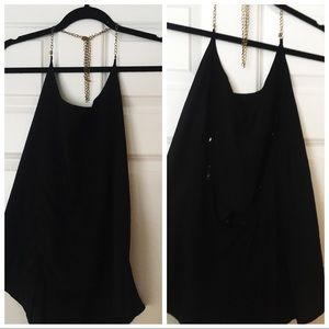Tops - Black gold chained openback top